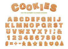 Gingerbread Alphabet For Decoration Design. Christmas Vector Illustration. Sweet Dessert. Winter Holiday Elements, Ginger Cookies