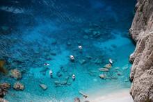 Pleasure Boats Anchored At Mizithres Cliff Rock In Zakynthos Ionian Island, Greece