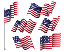 USA Flags. Set Of Six Wavy Flags. United States Patriotic National Symbol