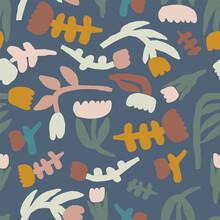 Vector Simple And Modern Scandinavian Style Flower Illustration Motif Seamless Repeat Pattern Digital Artwork Fashion Fabric Home Decor Textile