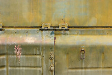 Photo Of Old And Rusty Military Vehicle Armored Surface Plates.