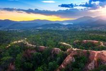 Aerial View Of Pai Canyon (Kong Lan) In Mae Hong Son, Thailand.