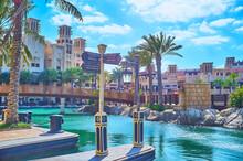 The Boat Pier On The Canal Of Souk Madinat Jumeirah Market, Dubai, UAE
