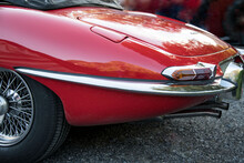 Rear View Of A Classic Red Sports Car