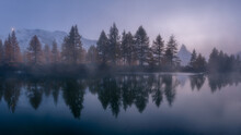 Foggy Lake, Forest And Matterhorn