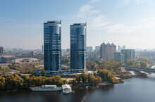 Air View Of The Houses On The Banks Of The Dnieper River. Residential Complex