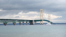 Cloudy Day View Of The Mackinac Suspension Bridge In Michigan