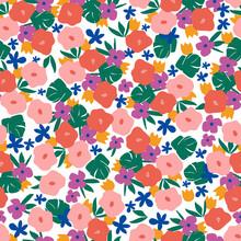 Cute Retro Color Contemporary Small Flower Illustration Seamless Repeat Ditsy Pattern Fashion Textile Digital Art