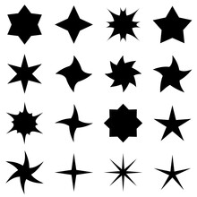 Sixteen Different Black Stars. A Set Of All Kinds Of Stars In Black. Multi-pointed And Five-pointed Stars, Twisted And Slender. Vector Selection Of Stars.
