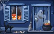 Vector Halloween Night Outdoor Scene With A Window Decorated With Jack-o'-lanterns, A Door, A Cat, Ghosts And A Cauldron With Candy Corn. Cartoon Illustration.