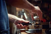 A Barman Behind The Bar Is Preparing An Espresso Beverage. Coffee, Beverage, Bar