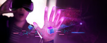 Metaverse And Blockchain Technology Concepts. Person Enjoying An Experiences Of Metaverse Virtual World. Futuristic Tone