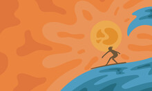 Sunset, Wave And Surfing Artistic  Banner Design.