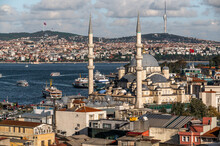 Yeni Cami - New Mosque, Golden Horn Bay Of Istanbul And View On Mosque With Sultanahmet