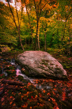 Big Boulder Little Stream While Hiking Through Vermont, I Came Across This Giant Boulder, Sitting Next To A Small, Cascading Stream.  Surrounded By Fall Foliage.