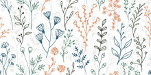 Field Flower Twigs Botanical Vector Seamless Background. Delicate Herbal Fabric Print. Garden Plants Leaves And Bloom Wallpaper. Field Flower Sprouts Summer Endless Swatch