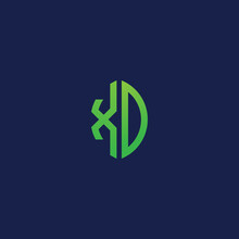 Creative Initial Letters XD With Eco Leaf Shape Logo