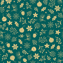 Christmas Vector Seamless Pattern With Gold Winter Floral Elements And Christmas Tree Decorations On Green Background. Christmas And New Year Wrapping Paper.