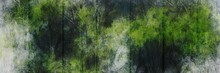 Abstract Background Painting Art With Green Forest Paint Brush For Presentation, Website, Halloween Poster, Wall Decoration, Or T-shirt Design.