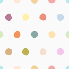 Colorful Bright Polka Hand Draw Paint Dots On White Seamless Pattern For Wallpaper, Background, Texture, Banner, Label, Card, Cover Etc. Vector Design