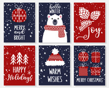 Set Of Christmas Greeting Cards With Gift Boxes, Polar Bear, Christmas Trees, Hat, Cone. Winter Holidays Vector Illustration For Posters, Flyers, Invitations And So On