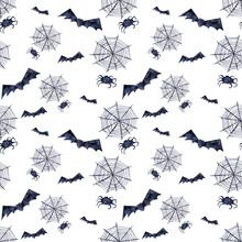 Watercolor Seamless Pattern With Various Halloween Theme Elements