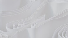 White 3D Ribbons Ripple To Make A Light Abstract Background. 3D Render.