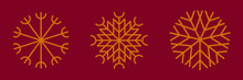 Group Of Gold Snowflakes On Burgundy Color Background. Golden Christmas Decoration Design Element. Xmas Symbol, New Year Minimalist Icon On Dark Red Or Purple Backdrop For Festive Banner, Postcard.