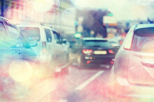 Abstract Traffic Jam Background On Road / Bokeh, View Of Transport, Auto On The Road In Blurred Background, Cars, Rear Light, Stop Signal