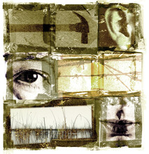 Abstract Art Collage, A Contemporary Idea Concept For Poster And Banner Design With Eye Ear And Lips