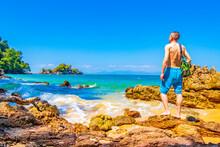 Tourist At Paradise Koh Phayam Aow Kwang Peeb Beach Thailand.