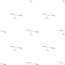 Seagull Is Carrying A Fish In A Beak Pattern Seamless Background Texture Repeat Wallpaper Geometric Vector