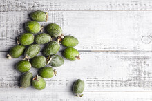 Feijoa Fruits Or Pineapple Guava On Wooden Table Top View