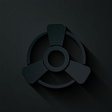 Paper Cut Car Motor Ventilator Icon Isolated On Black Background. Paper Art Style. Vector