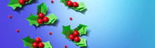 Christmas Holly Berries - Paper Craft - Flat Lay