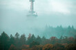 canvas print picture - Bielefelder Fernsehturm in herbstlichem Nebel