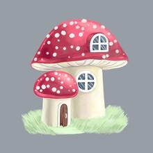 Mushroom House, Illustration On Gray Background