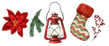 Watercolor Christmas Set. Poinsettia, Spruce Branch, Gas Lamp, Holiday Sock And Red Berries