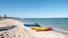 Kayaks Ashore At Sleeping Bear Bay, Michigan.