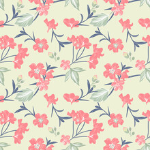 Simple Seamless Floral Pattern With Abstract Flowers. Elegant Template For Fashion Prints.