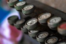 Antique Cash Register Keys On An Old Register