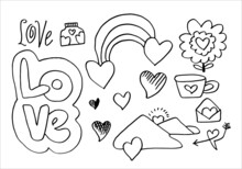 Set Of Cute Valentine Day Doodle Elements. Hearts, Flowers, Tea Cup, Hill And More. Vector Illustration For Your Design.