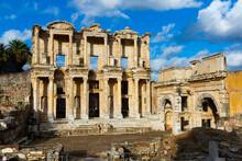 Ruins Of Celsius Library And Gate Of Augustus In Ephesus In Ancient City Ephesus. Turkey