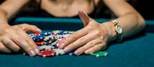 Pretty Young Woman In Elegent Blck Dress Gambling On Casino Green Table