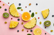 Leinwandbild Motiv Composition with different fruits and berries on color background