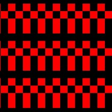 Retro Arcade Type Pattern In Red On Black Constructed From Squares And Rectangles In Cross  Motif Design
