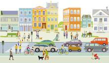 Vorort Mit Fußgänger Und Straßenverkehr, Illustration