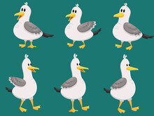 Set Of Wild Cartoon Cute Seagull Isolated On Green Background. Funny Birds.