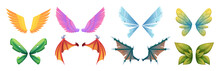 Mythology Wings. Fantasy Flying Creatures Monsters Medieval Fairy Tale Dragons Or Birds Body Parts Big Colored Wings Exact Vector Cartoon Collection