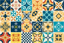 Spanish Tiles Floral Seamless Vector